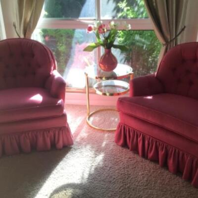 Pair of rose colored swivel chairs, $35 Reduced to $25