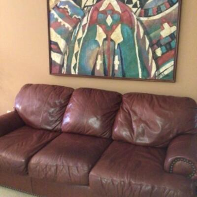 Leather sofa, $95 reduced to $65