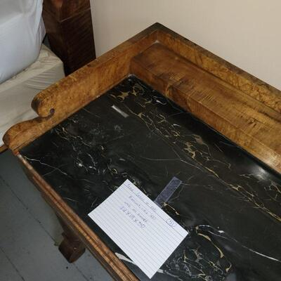 BIRDS EYE MAPLE 19TH CENTURY SIDE STAND, BLACK MARBLE TOP