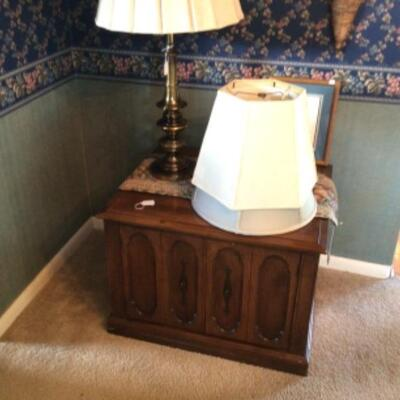 Solid large end table with huge storage.