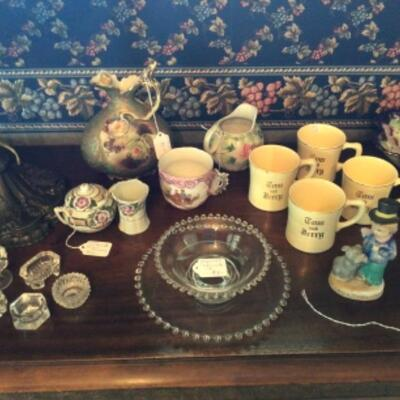 Assortment of German, Nippon, Japan and crystal items. Imperial candlewick bowl set.