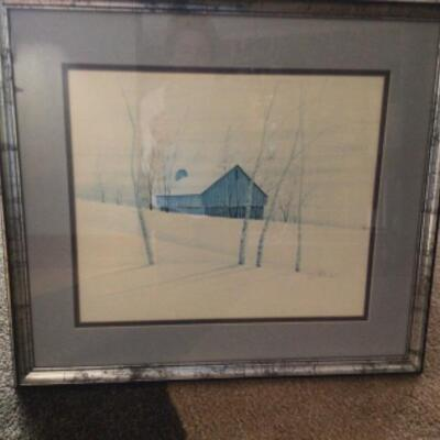 P Buckley Moss print. Framed, matted and signed.