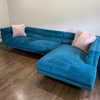Teal Velvet Sofa Sectional (Pillows Not Included) Item #1021  Price: $1000  (2) Pink Blush Velvet Pillows (1) Shag Pillow  Item #1022...