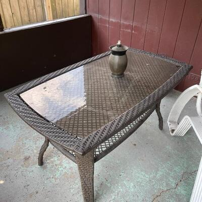 All Weather Wicker Patio Coffee Table in Brown with Glass Top Item # 1027 Price $50
