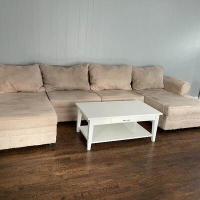 3 Piece Sofa Sectional in Beige Microfiber  Covers for cushions have zippers to be removed and placed in wash  Price: $700  White Lift...