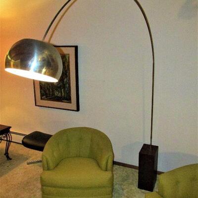 Mid-century arc lamp with walnut base