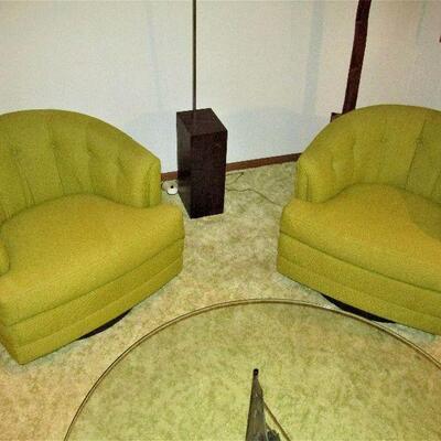 Mid-century swivel tub chairs