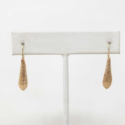 1508  14k Gold Textured Drop Dangle Earrings .4g Weighs .4g