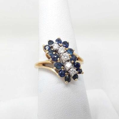 1502  14k Gold Diamond Ring With Blue Sapphire Cluster 5.5g Weighs 5.5g Size 6.5