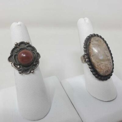 1530  Vintage Native American Coral Sterling Silver Ring And Large Ring With Engraved Sterling Silver 19g Weighs 19g Size 6 & 7