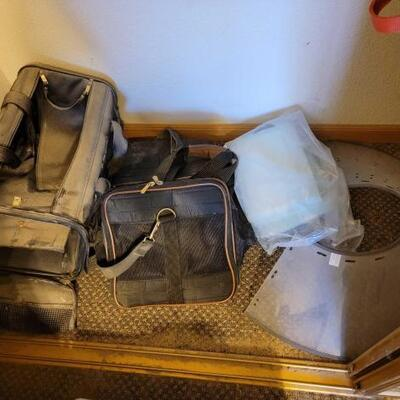 2048  3 Pet Carriers, Cone, and Puppy Pads Brands include Samsonite and Sherpa bags