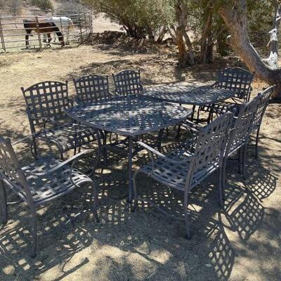 """1120  2 Metal Patio Sets 2) Tables 8) Chairs Tables are approximately 39"""" x 39"""" x 28"""""""