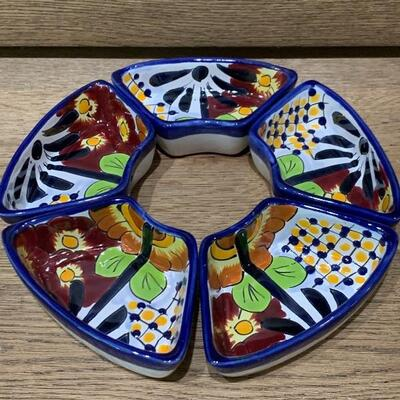 (5) Painted Ceramic Appetizer Tray