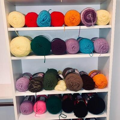 A Lot of Yarn on Shelves, as pictured