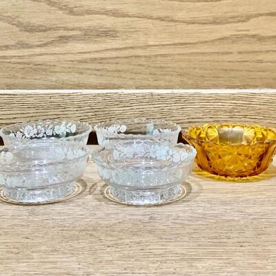 (5) Crystal Bowls, 1 Amber & 4 Footed Etched Clear