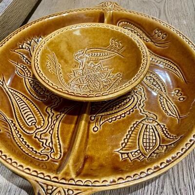 Original California Pottery Brown/Gold Chip & Dip