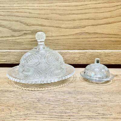 Vintage Crystal Dome Lidded Round Butter Dishes