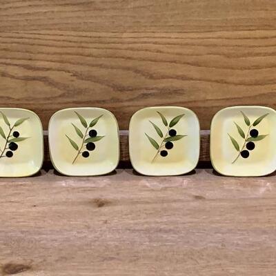 (4) Square Ceramic Appetizer Plates