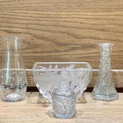 (4) Crystal, 2 Vases, Votive Holder, Square Bowl