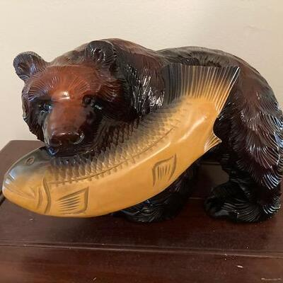 Japanese Wood Carving Bear with Fish Ainu Japan Hand Carved