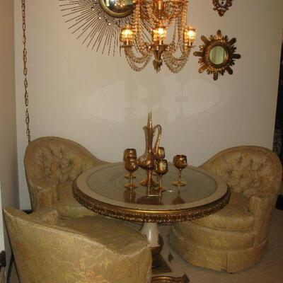 inlaid glass top table   BUY IT NOW $ 145.00 CLUB CHAIRS  $ 65.00 EACH