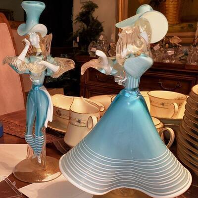 Murano glass man and woman figures