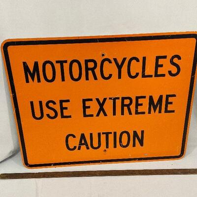 Motorcycles Caution Street Sign - Metal