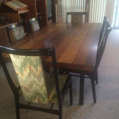 Harvest table with six black high back chairs (w/leaf)