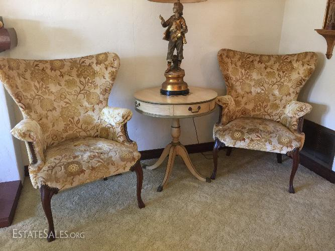 Pair of high style vintage wing back chairs