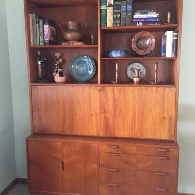 Mid Century Modern Teak drop front desk and book case, Sibast