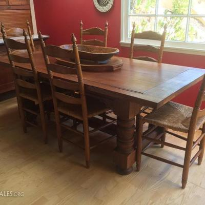 Antique harvest table and ladderback chairs